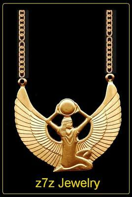 WINGED ISIS Necklace - gold brass ancient egyptian winged pendant jewelry z7qq