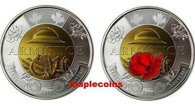2 coins>1918-2018 100th Anniversary Armistice Toonie $2 Color+NO-Color from Roll
