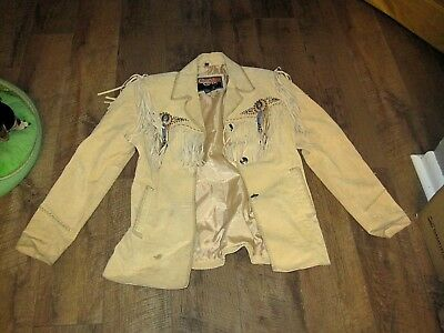 Native American Western Jacket, Fringed Leather Womens Size M