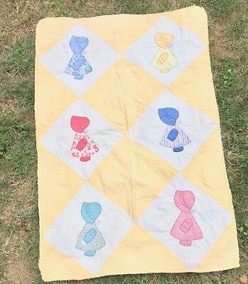 Vintage antique quilt, Sunbonnet Girls, hand quilted, crib, child, 1930's, 40's