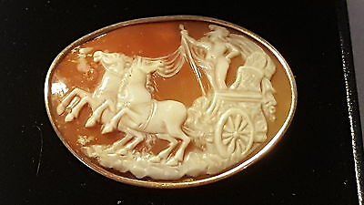 9 carat solid gold & carved shell cameo vintage Victorian antique chariot brooch