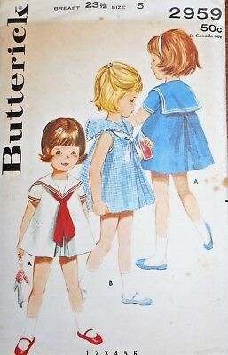 Vintage Butterick GIRLS' SAILOR DRESS Sewing Pattern~FF~SIZE 5~#2959~UNCUT !!