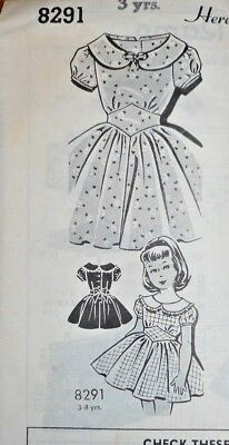 Vintage MAIL ORDER GIRL'S DRESS Sewing Pattern~SHAPED MIDRIFF~FF~SIZE 3~#8291 !!