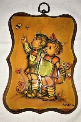 Little Boy And Girl Walking in Flowers 3D Art Picture on Wood by Evans