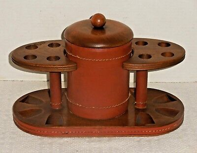 Vintage DUK-IT Wooden Pipe Holder Leather Humidor Walnut Stand McDonald Products