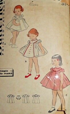 Vintage 1950s Butterick TODDLERS' DRESS & PANTIES Sewing Pattern~SIZE 1/2~#8383