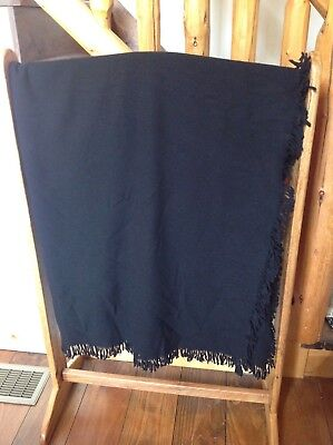 "Amish Hand Made Black Wool Buggy Blanket 65"" X 64"" Carriage Sleigh Lap Plain"