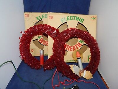 2 Vintage Red Cellophane Electric Christmas Wreaths