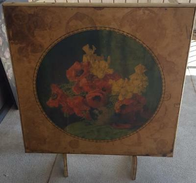Antique Folding Card Table Built-In Stand to Display Beautiful Floral Pattern