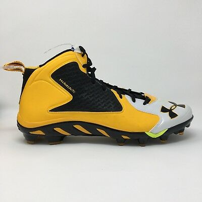 Under Armour Football Cleats Yellow Clutchfit Spine Men's Shoes Size 13.5