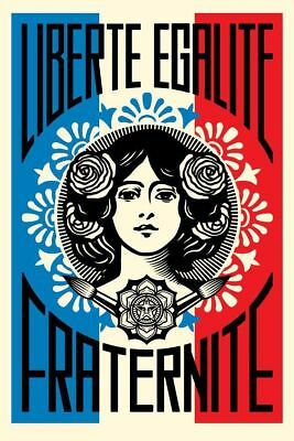 LIBERTE EGALITE FRATERNITE SIGNED OFFSET POSTER SHEPARD FAIREY 24x36 OBEY PRINT