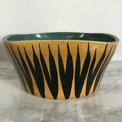 Vintage English Wattisfield Ware Pottery Square Serving Bowl Mid Century Modern