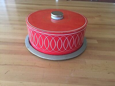 VINTAGE Tin Metal RED SMALL CAKE PIE CARRIER Cookie Biscuit HOLDER