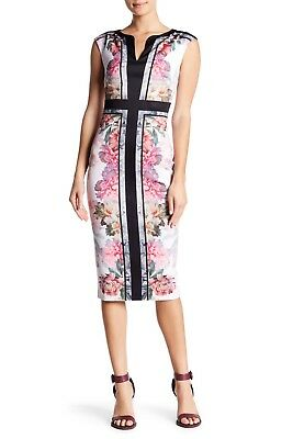 76e2c1158 Ted Baker London Baby Pink Shawnie Painted Posie Fitted Midi Dress Size 3  (US 8