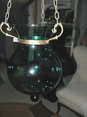Turquoise Morroccan Style Hanging Glass and Brass Candle/Incense Holder,