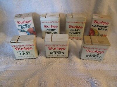 Lot of 5 Vintage Durkee metal spice tins and 2 Durkee boxed spices