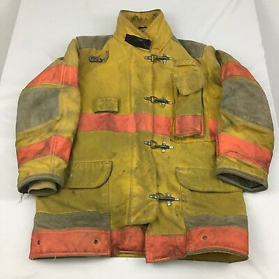 Firefighter Turnout Jacket Mens 44x35R Yellow With Liner Janesville