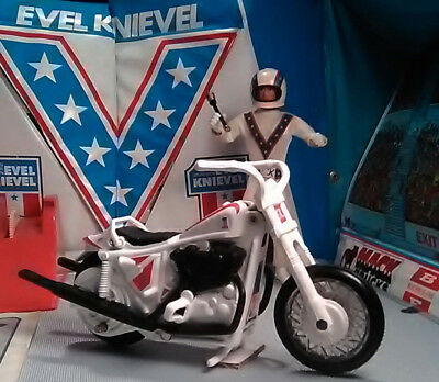 Evel Knievel Vintage Set Stunt Cycle Energizer Action Figure With Rare Cane