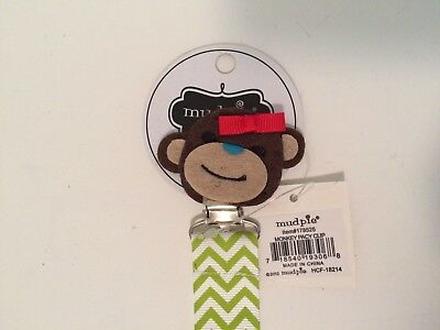 NWT~Mud Pie Baby Pacifier Pacy Clip ~ Monkey with Bow ~ Green and White Ribbon