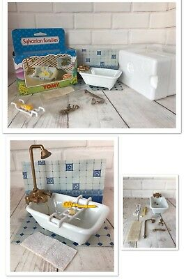 Sylvanian Families Tomy Vintage Bath Shower Set Calico Critters Die Cast Ceramic
