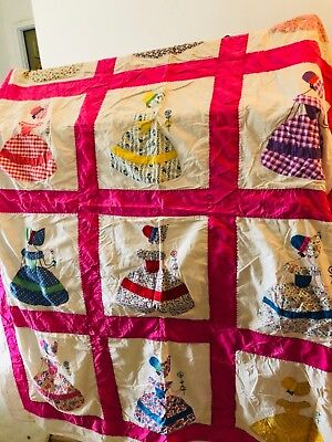 Beautiful Lady quilt top 1930?s cotton 82x74