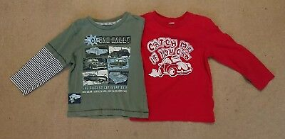 2 x Boys Long Sleeve Tops age 12 - 18 Months