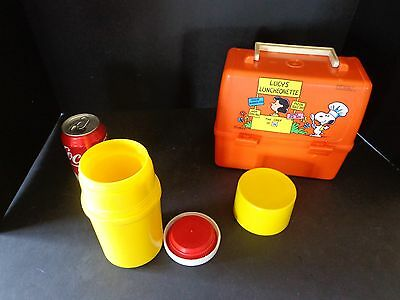 Peanuts Lucys Luncheonette Plastic Lunchbox1965 w/ thermos nice condition decals