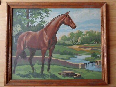 Large Vintage Paint by Number PBN Painting Thoroughbred Race Horse Stream Field