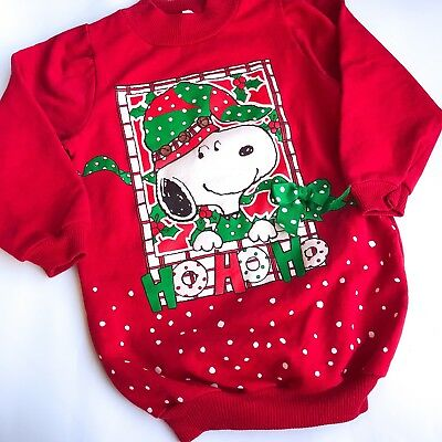 VTG Kids 80s Snoopy Peanuts Xmas Christmas Fugly Red Novelty Jumper Retro 4-5 Y