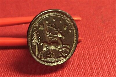 "Fine Medieval Deer Stamp With ""VK"" Monogram. 16. Century  Wax Seal Matrix"
