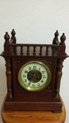 Large Oak Cased Enamel Dialed Clock