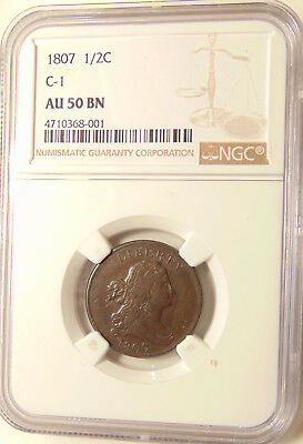 1807 Half Cent - C-1 Better Date - NGC AU50 BN - Very Pretty AU Coin