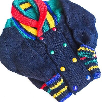 VTG Kids 90s Primary Colours Chunky Knit Handmade Navy Cardy Jumper Retro 5-6 Y