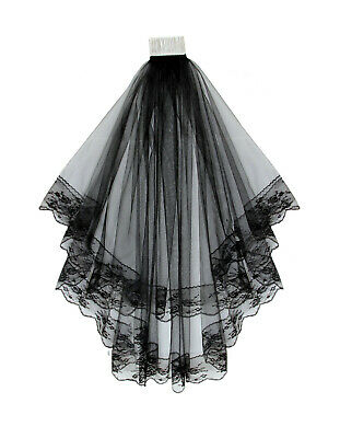 "2 Tier Black Bridal Wedding Veil With Lace Edges Comb 31"" Brand New"