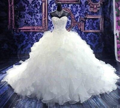 Princess ball Gown, sweetheart lace up corset, wedding dress size 12-16