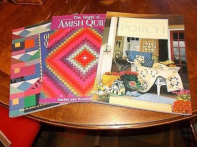 lot of 3 quilting books decorated porch projects, amish quilts more McClun EUC