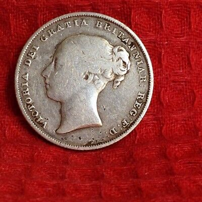 Dated : 1839 - Silver Coin - One Shilling - Queen Victoria - Great Britain