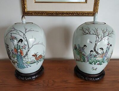Pair Chinese ginger jars porcelain Republic Pd. Huang Yicheng fine condition