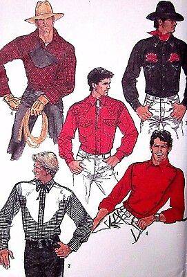 Simplicity 8473 Sewing Pattern 1980's Men's Fitted Western Shirt size 46 Uncut