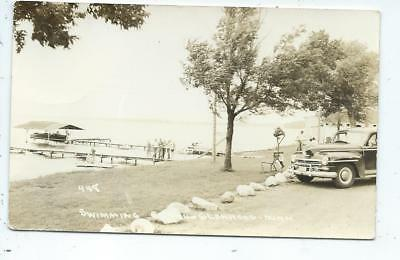 Glenwood MN Minnesota RPPC Postcard Swimming Beach Boat Car
