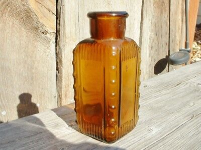 """Antique Amber Ribbed 3 Sided Triangle 4 1/2"""" Poison Bottle~Excellent Condition"""