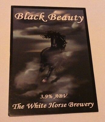 Beer pump clip badge front WHITE HORSE brewery BLACK BEAUTY cask ale