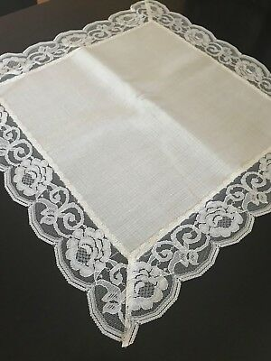 Set of 6 White Linen & Lace Vintage Placemats Handmade in London Unused Mint