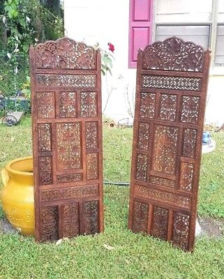 Antique Teak Wood Carved Panels  48 x 16  Leafs and Grapes with removable top