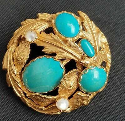 beautiful turquoise mother-of-pearl gold toned vintage brooch