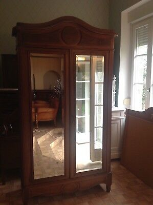 French antique vintage Louis xv style double door mirrored wardrobe in walnut