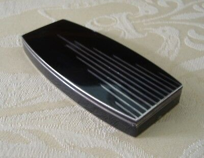 Vintage 1930s French Art Deco black chrome rouge &lipstick vanity mirror compact