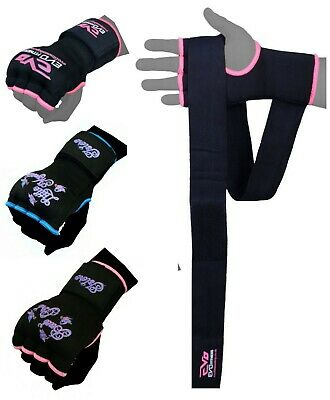 Islero Ladies Pink Gel Gloves MMA Kick Boxing Muay Thai Martial Arts Hand Wraps