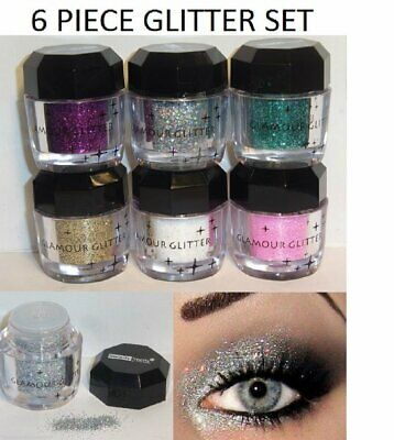 6 Pieces Glitter Shimmer Loose Pigment Eyeshadow Lips