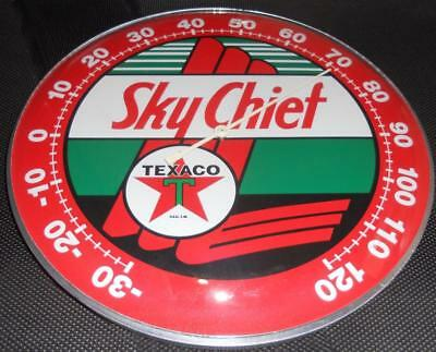 """Texaco  Sky Chief Thermometer 12"""" Round Glass Dome Sign"""